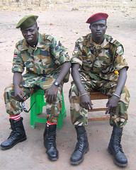 Two SPLA soldiers in Yirol Town (emorgan49) Tags: africa men army war south sudan rumbek soldiers dinka rebels spla yirol