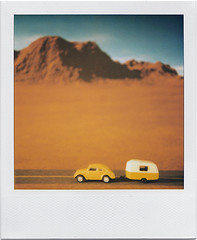 Road Trip (Across Australia) (tubes.) Tags: mountains vw volkswagen polaroid sx70 toys route66 solitude driving desert beetle hills backdrop trailer camper rendering reelrides