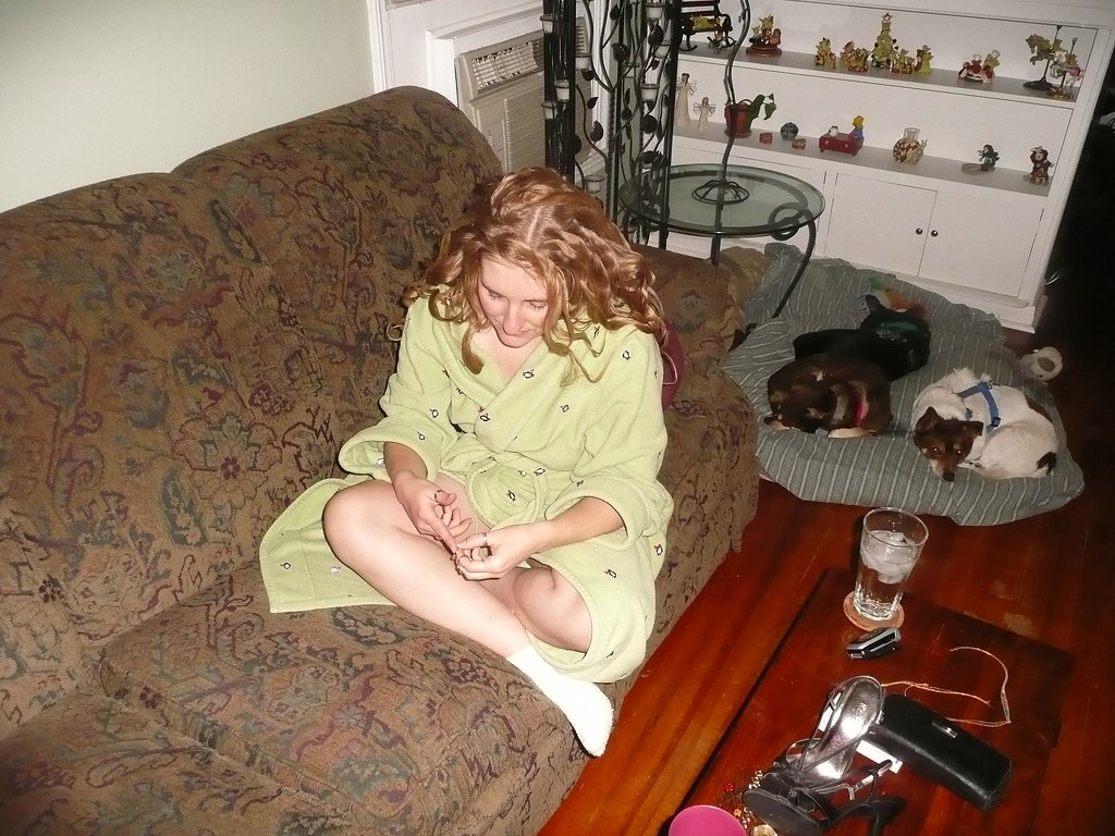 Fixing her hair and wearing makeup really doesn't agree with Sarah.  At the end of the night she always ends up in a fetal position wearing fuzzy socks.