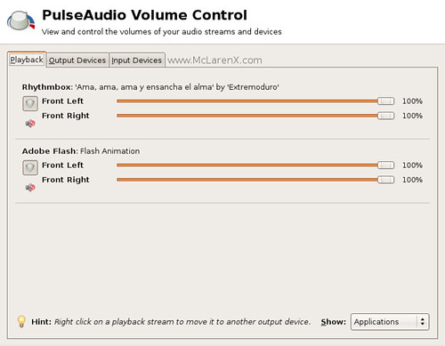 Playback - Volume Control - Pulse Audio