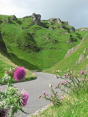Winnats Pass (rockcake) Tags: uk england green canon landscape thistle peakdistrict pass nationaltrust crags winnatspass powershotg7