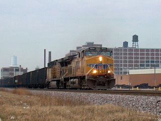 Eastbound Union Pacific RR  unit coal train. Chicago Illinois. December 2006.