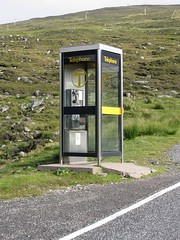 Very remote phonebox - so remote they forgot to update the BT logo from the one that was phased out in 1991!