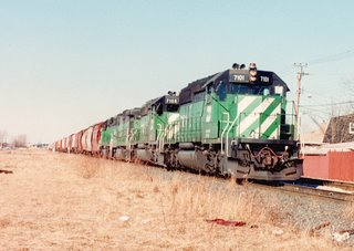 Southbound Burlington Northern transfer train near West 59th Street. Chicago Illinois. January 1990.
