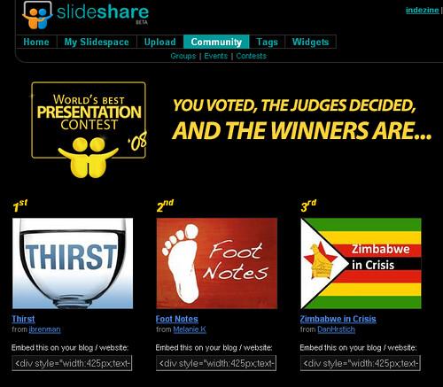 World's Best Presentation Contest 2008 - SlideShare