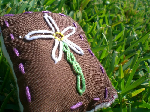 Embroidered-Flower Pincushion