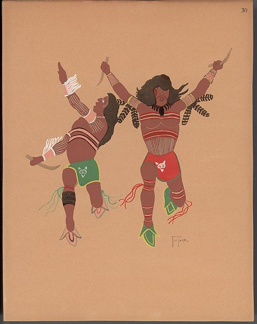 pochoir illustration of 2 native American Warriors in dynamic pose 1929 - Monroe Tsatoke