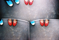 one foot, two foot, red foot, blue foot (troutfactory) Tags: blue red film feet japan shoes toycamera  nostalgic shimane brightcolors analogue lookingdown superia400 tripleplay  robot3 threelenses
