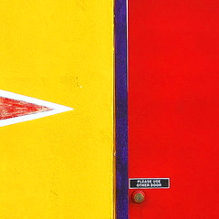 The other door ~ (Dominique Guillochon) Tags: california door blue red usa white abstract beach yellow wall unitedstates sandiego lock mini beachlife pb pacificbeach minimalism minimalistic californiacoast grandavenue abstractminimalism colourartaward pleaseuseotherdoorsign