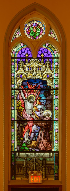 Saint Francis of Assisi Roman Catholic Church, in Portage des Sioux, Missouri, USA - stained glass window of Saint Francis of Assisi receiving the stigmata
