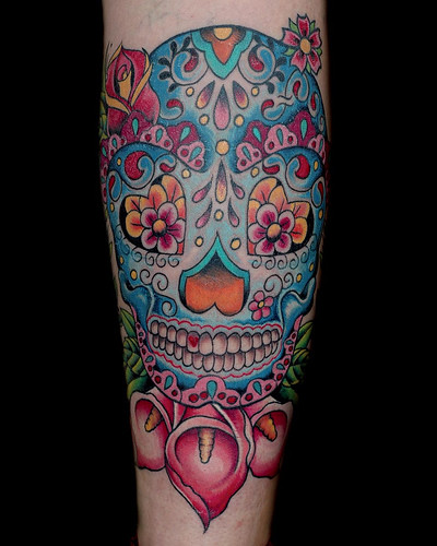 candy skull tattoo flash