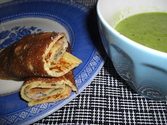Pancakes and green pea soup