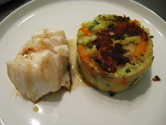Cod and stoemp (Simon Aughton) Tags: potato carrot parsley cod brusselssprout