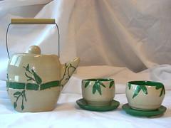 bamboo teapot and cups (art room 46) Tags: hot art minnesota set ceramic tea bamboo teapot bloomington kennedy artclass artlesson highschoolart ceramicsclass ceramicslesson kyackel clayprojects