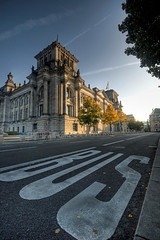 BUS (Esther Seijmonsbergen) Tags: street city bus berlin composition germany parliament busstop reichstag greatshot government hdr foreground 3xp foregroundinterest estherseijmonsbergen