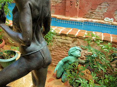 PM018641 (FotoManiacNYC) Tags: blue sculpture brick art water pool architecture stairs garden nude hotel design hand oldsanjuan puertorico body handmade antique interior rustic steps patio made swimmingpool interiordesign boutiquehotel thegalleryinn