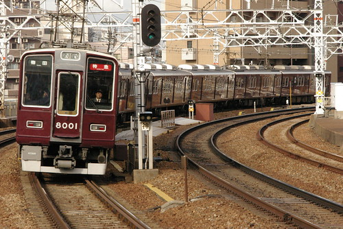 Hankyu8000series in Nakatsu,Osaka,Osaka,Japan 2008/11/22