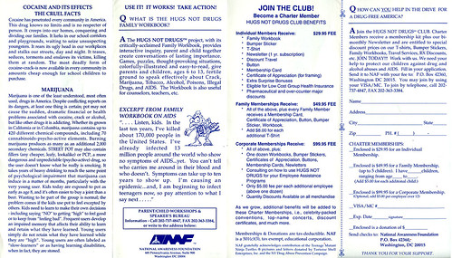 "National Awareness Foundation  ""Hugs Not Drugs"" promo pamphlet, Club membership order / donation form .. ii (( 1993 ))"