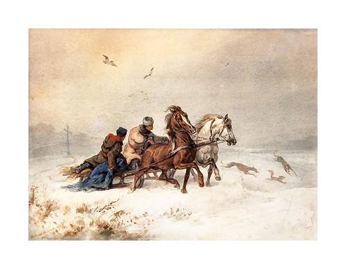 013-La caza de la zorra-acuarela-1857-Juliusz Kossak