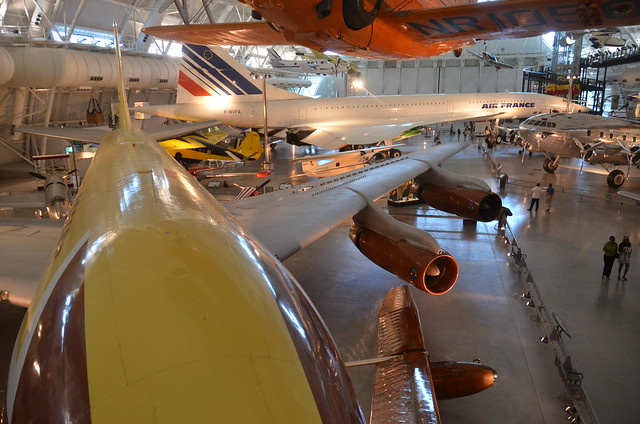 Steven F. Udvar-Hazy Center: Boeing 367-80 Jet Transport, with Concorde, Fox Alpha, Air France in the background