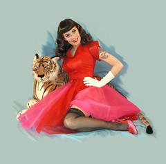 Pinup (Pinky-Lee) Tags: pink portrait dress tiger retro gloves pinup elvgren bachelorpadmagazine