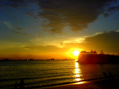Sunset at Siloso Beach, Sentosa, Singapore