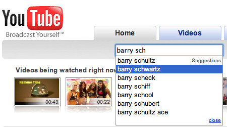 YouTube Search Suggestions