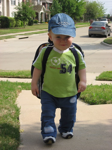 Ian with his backpack from Aunt Janna.