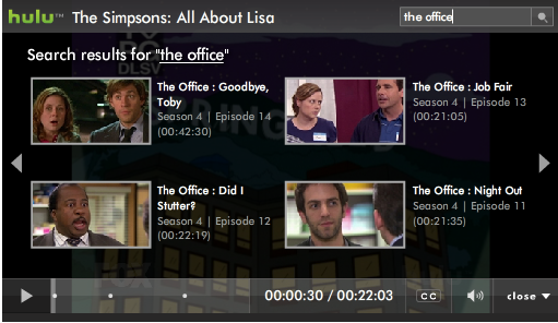 Hulu Embeds Search In The Video Player - Search Engine Land