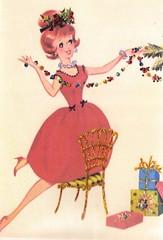 christmas card with glitter (lorryx3) Tags: christmas red glitter holly vintagecard