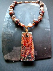 Raku Beads: Copper Magic Necklace by MAKUstudio (MAKUstudio) Tags: arizona phoenix ceramic beads wire ceramics handmade jewelry copper bead etsy raku pendant makustudio mariannekasparian