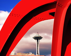 red, steel, shadows, needle, clouds (Seattle rainscreen) Tags: seattle red sky sculpture art beautiful clouds washington shadows sam eagle steel landmarks icon spaceneedle bolts publicart elegant majestic sculpturepark alexandercalder g9