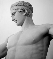Diadoumenos (focuspocus) Tags: original sculpture man beauty statue museum bronze island site ancient roman young greece marble athlete 2008 archaeological copy cyclades sculptor 2007 delos myconos polykleitos explore169june25