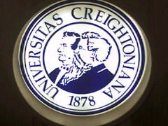 Creighton University badge in the library