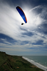 Paragliding, Compton Bay, Isle of Wight. Leaving it all behind (s0ulsurfing) Tags: ocean blue light sea sky cliff cloud sunlight seascape praia beach water silhouette backlight clouds danger wow downs fun island freedom bay coast mar flying skies escape bright wind pov compton aircraft horizon extreme flight wide wing perspective shoreline silhouettes wideangle cliffs pointofview coastal shore vectis isleofwight sail coastline backlit paragliding gliding glider hanover paraglider 2008 isle channel englishchannel wight exciting cirrus paraglide lamanche freiheit westwight gleitschirm 10mm comptonbay abenteuer sigma1020 ridgesoaring s0ulsurfing ridgelift welcomeuk