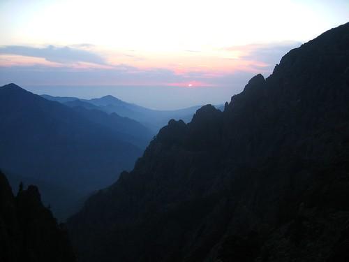 Coucher de soleil sur le haut Fangu depuis Campu di Vetta