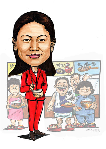 Caricature Grace F&B agent with hawkers (superimposed) A4