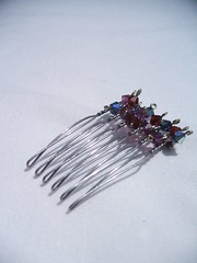 Be Royal Hair Comb (silverfey) Tags: blue red siam royalty adornment hairaccessory haircomb hairfork royalcolours deceration handmadeindieetsy swarovskicrystalspurple