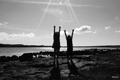 beam us up (hilmiri ( Ill be back...soon)) Tags: sky lake kids clouds nikon rocks nikkor harpa gisli d80 nikond80 aplusphoto blackwhiteaward gslirbert harpars