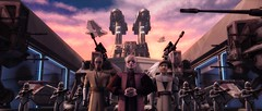 With Mace Windu and Obi-Wan Kenobi in tow, Palpatine surveys the troops in a scene from STAR WARS: THE CLONE WARS.