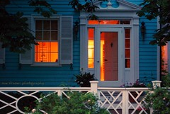 the lights are on and nobody's home (suesue2) Tags: blue orange house lights evening michigan cottage stroll mackinacisland suesue2 amazingmich suefraserphotography