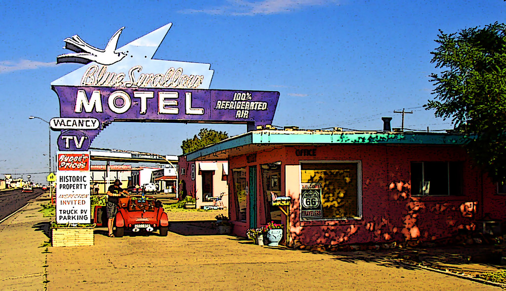 Blue Swallow Motel on Route 66 in New Mexico (Posterized)