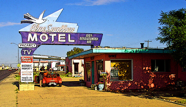 Blue Swallow Motel on Route 66 in New Mexico (Posterized) by Scandblue