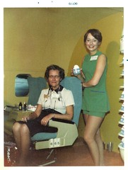 My Grandmother (Zombie Normal) Tags: grandma plane airplane hose uniforms 1970s stewardess miniskirt 1973 airplanewindow leggs greeneyeshadow