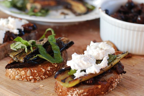 Roasted Japanese eggplant sandwich with shishito peppers, goat cheese, and olive tapenade