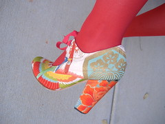 Hetty Rose Ella and Red kick (ShoeDaydreams) Tags: feet stockings vintage shoes legs princess tights heels kimono maryjanes bespoke poochie princesspoochie shoedaydreams hettyrose