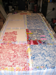"Printing ""Typography"" pattern. (1Girl 1Boy) Tags: blue red typography letters font printedtextile handprinted textiledesign blockprinted"