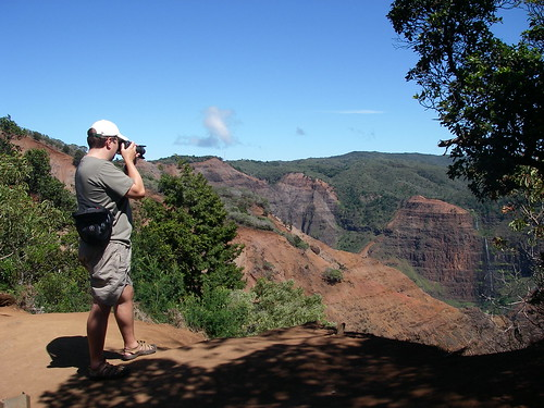 Andy Beal Capturing a Photo at Waimea Canyon
