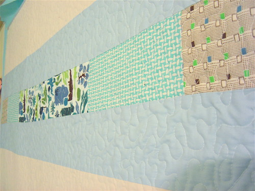 Simple Squares Baby Boy Quilt - Back detail