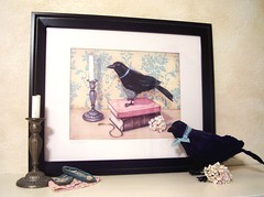 """""""The Well Read Raven"""" (holiday_jenny) Tags: pink original wallpaper art sepia vintage silver shopping painting print reading aqua bell antique teal cream large books ribbon bella crow raven candlestick damask matted shabbychic 16x20 readytoframe everydayisaholiday jennysbakeshop"""